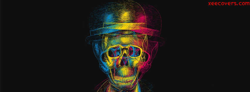 3D ColourFull Skull Illusion facebook cover photo hd
