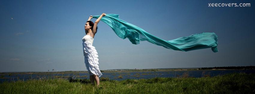 A Girl Enjoying Breeze facebook cover photo hd