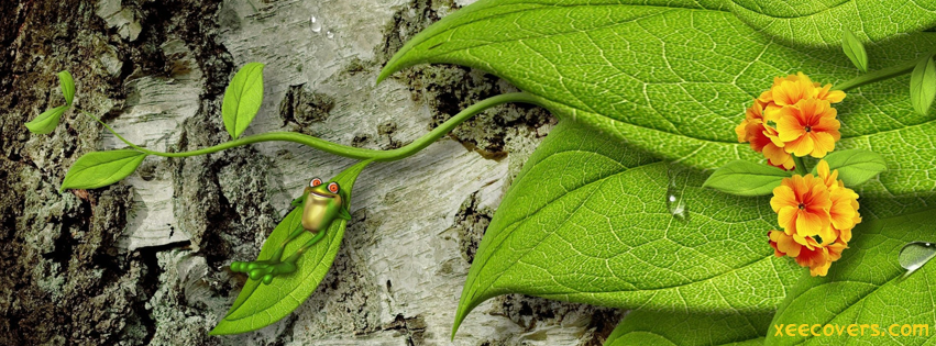 A Happy 3D Frog Enjoying On Leaves FB Cover Photo HD