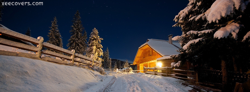Awesome Snow Covered House With Snowy Trees Around facebook cover photo hd