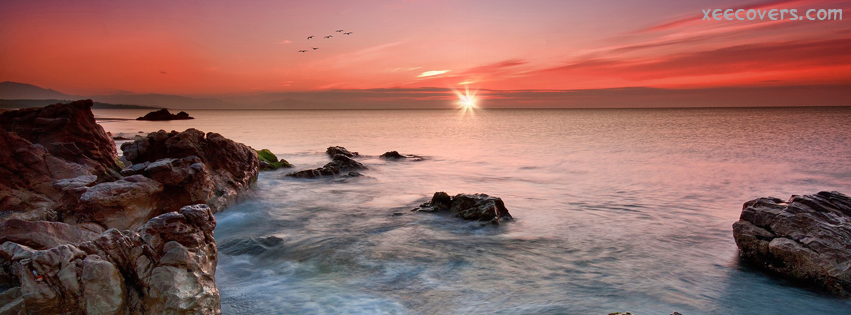 Beautiful Rocks And River In Sunset FB Cover Photo HD