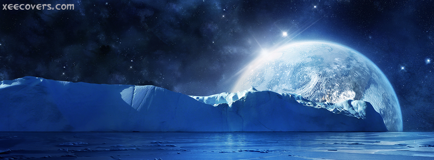 Blue Moon And Mountains facebook cover photo hd