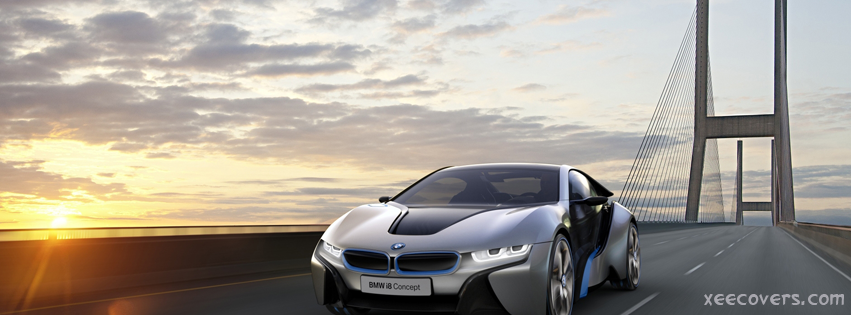 Bmw I8 Concept Car And Sunset FB Cover Photo HD