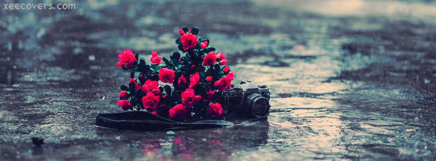Camera And Flowers Floating On Water FB Cover Photo HD