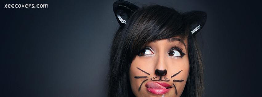 Cat Girl facebook cover photo hd