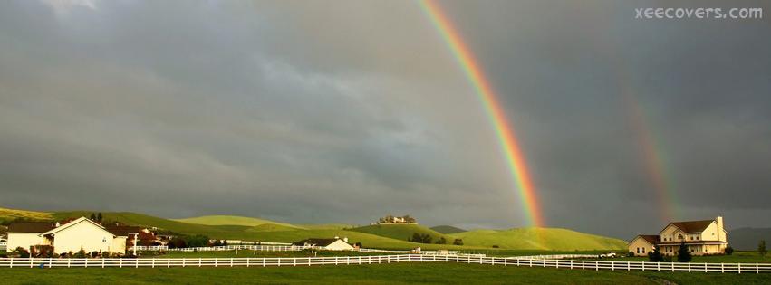 Cloudy Rainbow Scene facebook cover photo hd