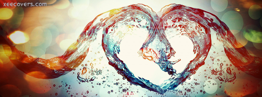 Colorful Water Heart FB Cover Photo HD