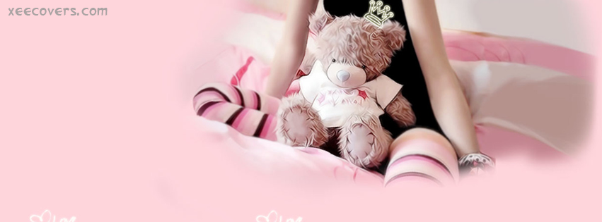 Girl Sitting Lonely With Her Teddy Bear facebook cover photo hd