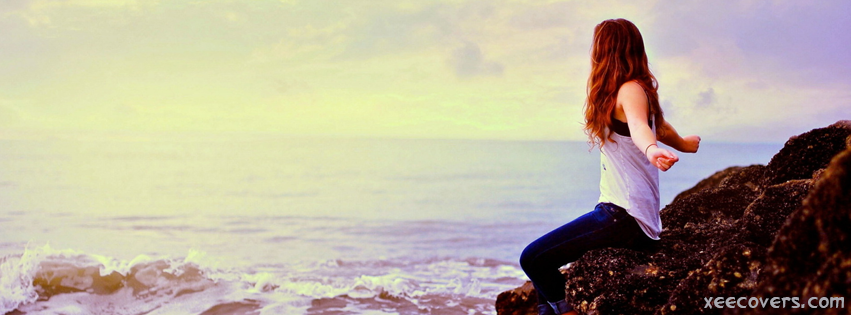Girl Sitting On Mountain facebook cover photo hd