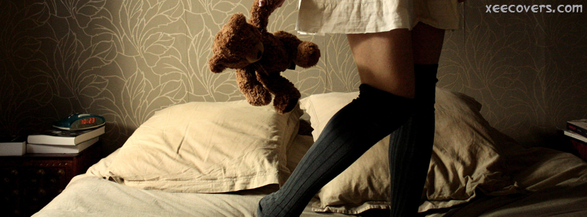 Girl With Her Teddy Bear facebook cover photo hd