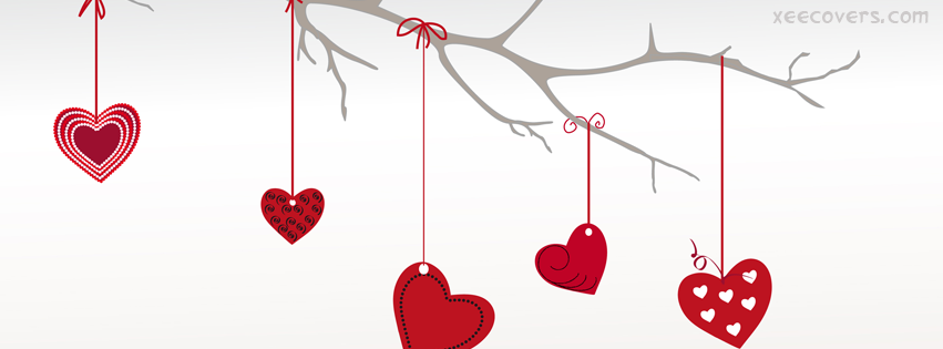Hanging Red Hearts FB Cover Photo HD
