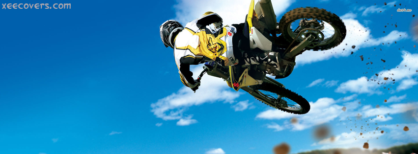 Racing Bike Jumps In Air FB Cover Photo HD