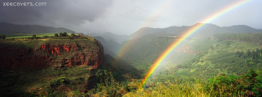 Rainbow And Mountains Scene After Rain FB Cover Photo HD