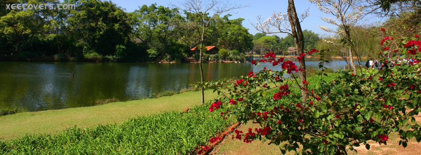 Red Flowers And Lake Landscape FB Cover Photo HD