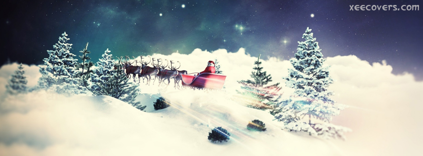 Santa Claus And His Deers facebook cover photo hd
