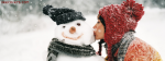 Santa Girl Kissing Snow Man