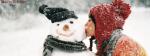 Santa Girl Kissing Snow Man