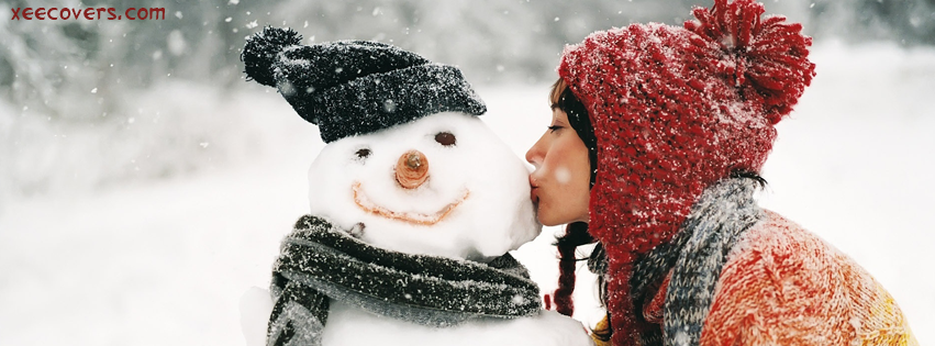 Santa Girl Kissing Snow Man facebook cover photo hd