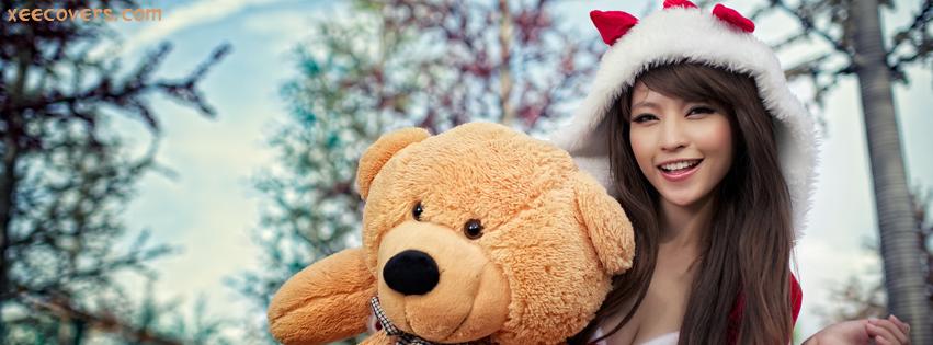 Santa Girl With Teddy Bear facebook cover photo hd