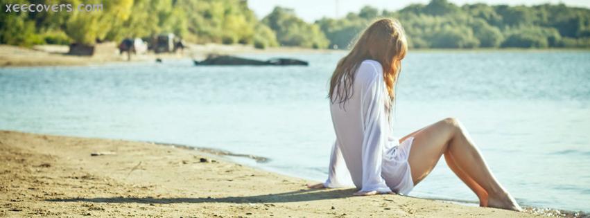 Sitting Alone On Beach Side FB Cover Photo HD