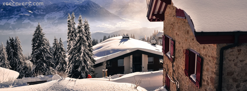Snow Covered Roofs And Trees FB Cover Photo HD