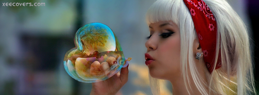 Sweet Girl Making Love Bubble FB Cover Photo HD
