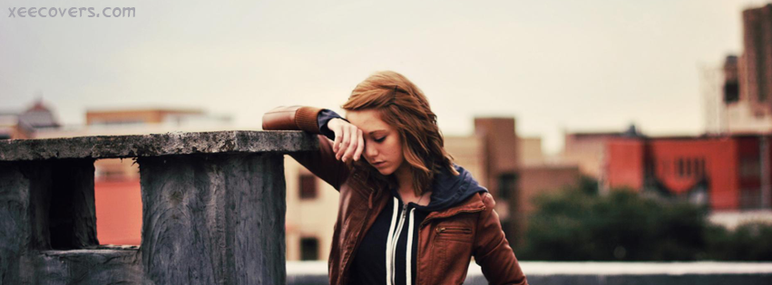 Tensed Girl facebook cover photo hd