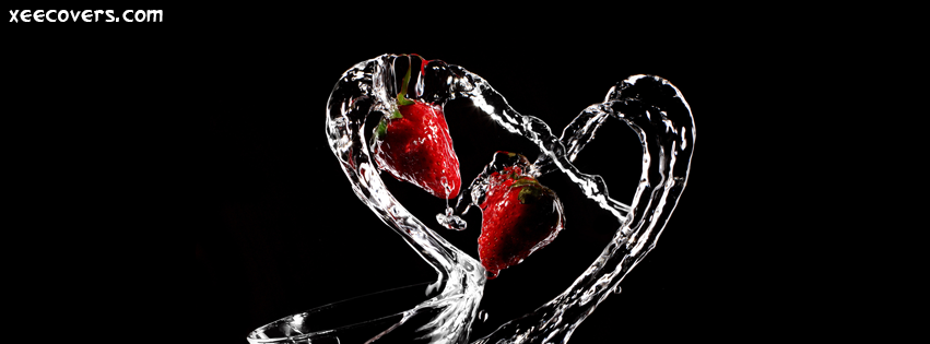 Water And Strawberry Heart FB Cover Photo HD