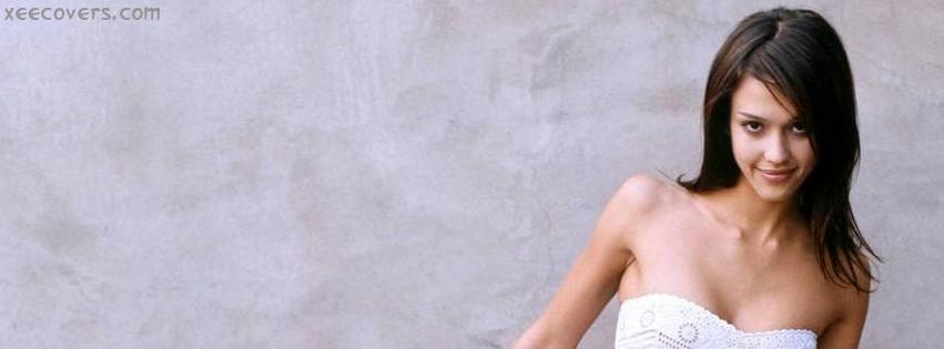 Jessica Alba In White Dress facebook cover photo hd