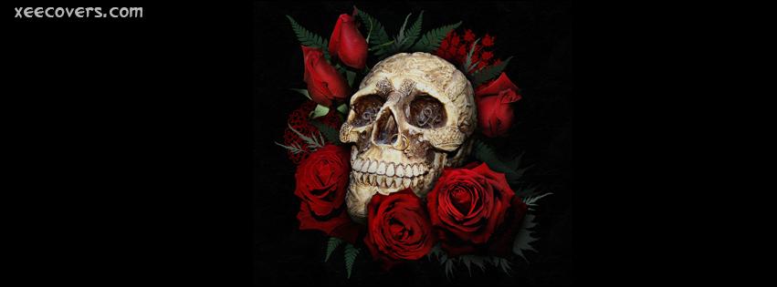 Skull Roses Love Never Dies facebook cover photo hd