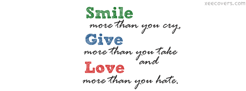 Smile Give Love FB Cover Photo HD
