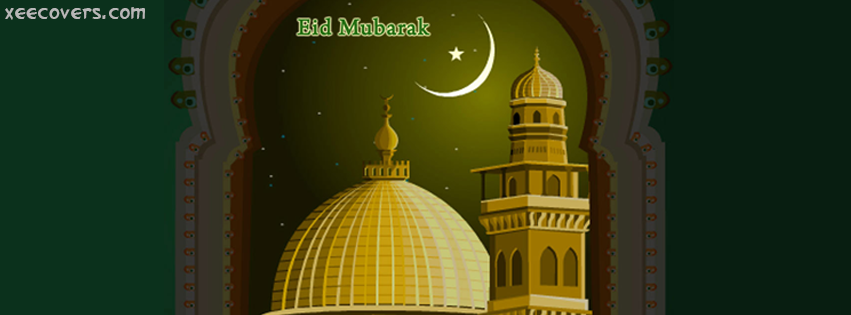 Eid Mubarak (Green Masjid) FB Cover Photo HD