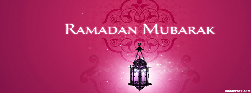 Ramadan Mubarak (Pink Background) facebook cover photo hd